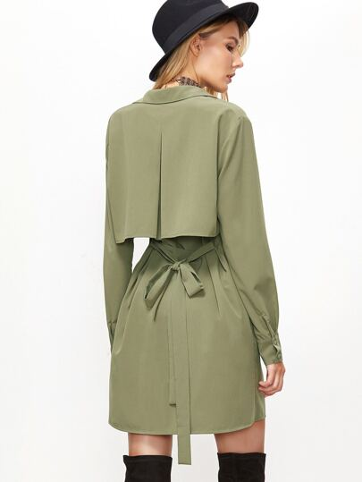 Green Button Up Pleated Flap Back Belted Longline Blouse
