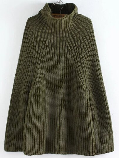 Army Green Turtleneck Oversized Poncho Sweater
