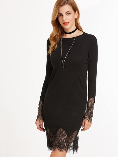 Black Contrast Eyelash Lace Sweater Dress