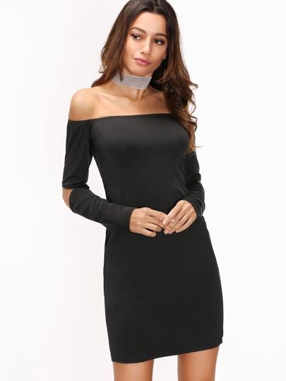 Black Off The Shoulder Cut Out Elbow Sheath Dress