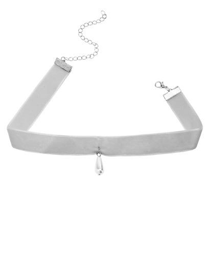Light Grey Velvet Faux Pearl Choker Necklace