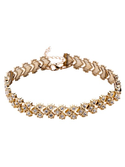 Gold Tone Rhinestone Embellished Heart Link Choker Necklace