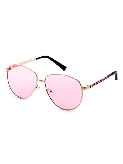 Gafas de sol con marco de metal lentes rosa estilo de retro