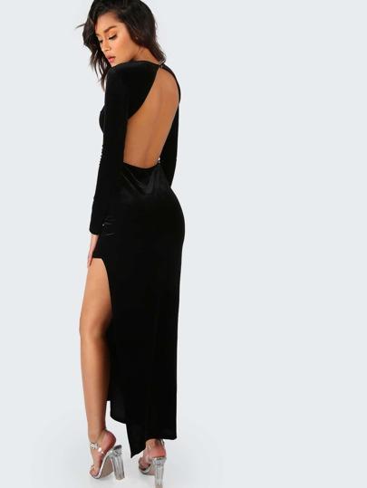 Backless Slit Velvet Maxi Dress BLACK