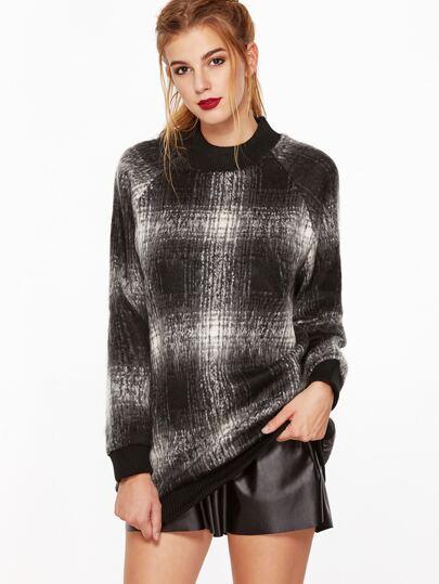 Contrast Ribbed Trim Raglan Sleeve Plaid Sweatshirt