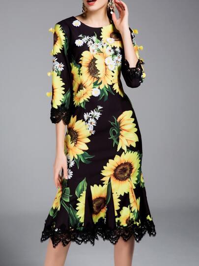 Black Flowers Applique print sunflower Contrast Lace Dress