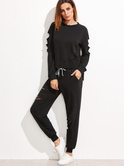 Sudadera asimétrica con diseño desgastado y pantalones deportivos - negro