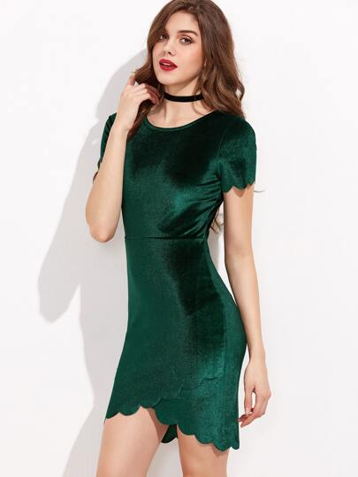 Green Scallop Edge Overlap Hem Velvet Bodycon Dress