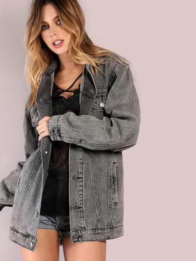 Mineral Washed Oversized Denim Jacket BLACK