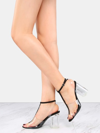 Suede T-Strap Chunky Clear Heels BLACK