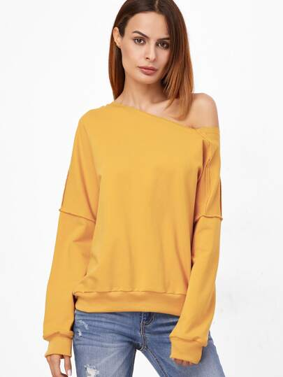 Yellow Asymmetric Off The Shoulder Raw Seam Sweatshirt