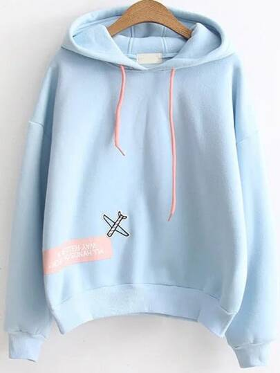 Blue Letter Print Patch Hooded Sweatshirt