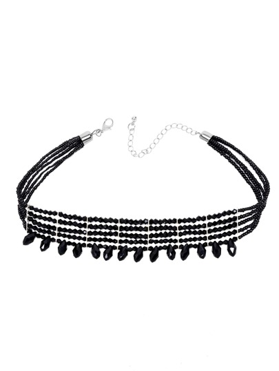 Black Layered Beaded Water Drop Crystal Choker Necklace