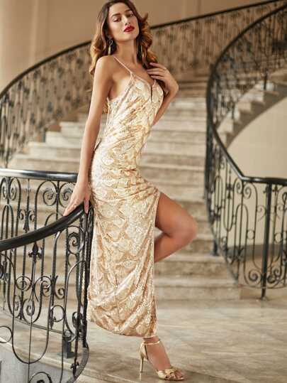 Gold Scallop Sequin Embroidered Slit Cami Dress