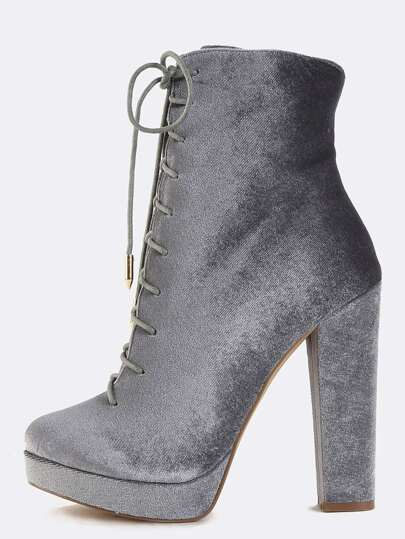 Platform Lace Up Velvet Ankle Boots GREY
