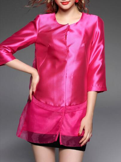 Hot Pink Contrast Organza Embroidered Coat