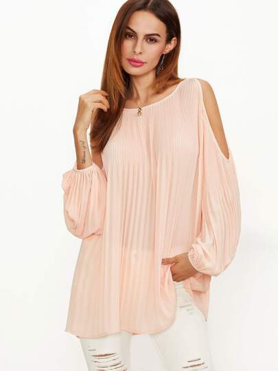 Pink Cold Shoulder Lantern Sleeve Pleated Blouse