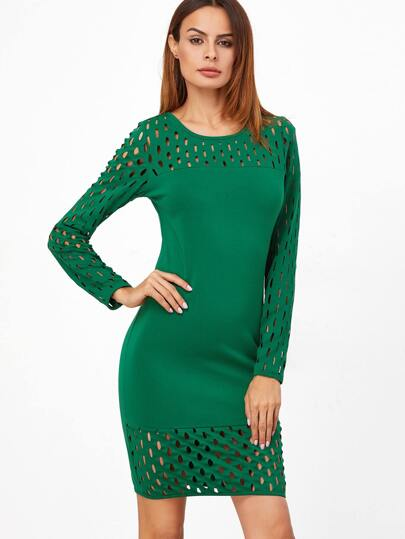 Green Hollow Out Long Sleeve Sheath Dress