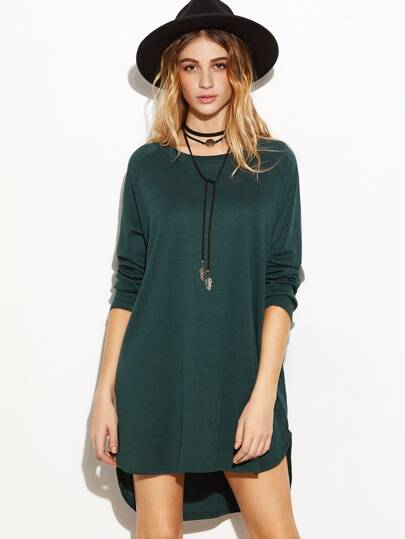 Raglan Sleeve Slit Side Dip Hem Dress