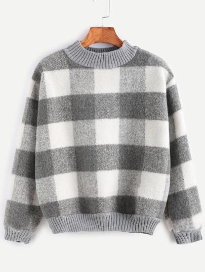 Contrast Ribbed Trim Check Plaid Sweatshirt