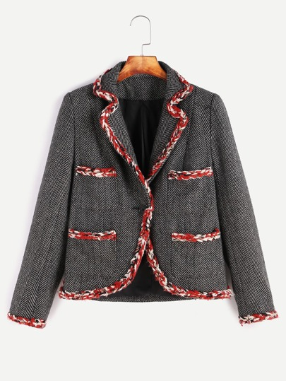 Black Braided String Trim Chevron Pattern Tweed Blazer