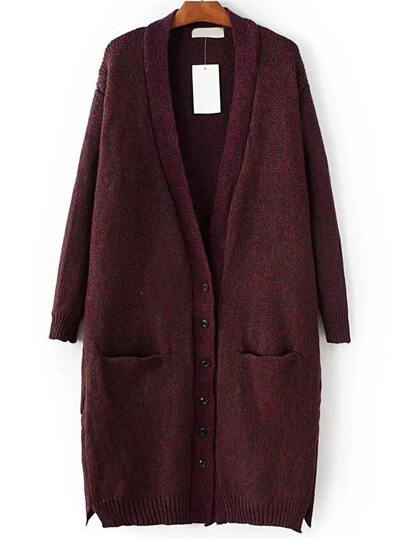 Button Up Side Slit Sweater Coat With Pocket