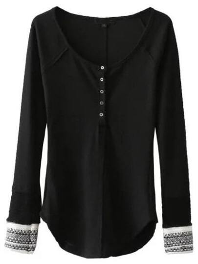 Black Contrast Cuff Button Up Curved Hem Knitwear
