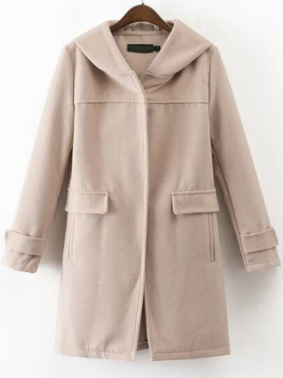Apricot Front Pocket Hooded Coat