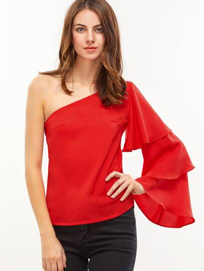 One Shoulder Layered Ruffle Sleeve Top