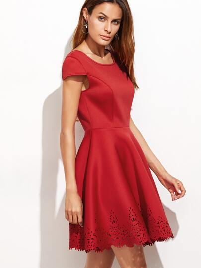Red Laser Cutout Tied Open Back Skater Dress