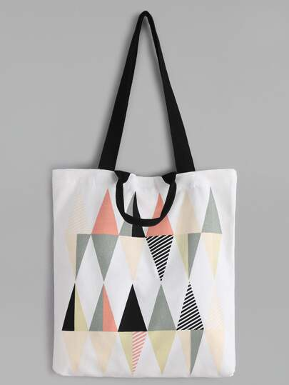 Diamond Pattern Canvas Tote Bag