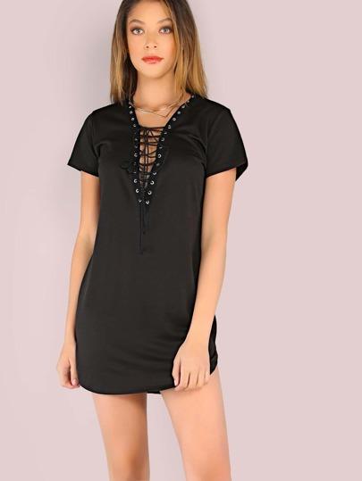Short Sleeve Lace Up Tunic Dress BLACK
