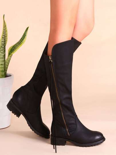 Black PU Almond Toe Side Zipper Knee Boots