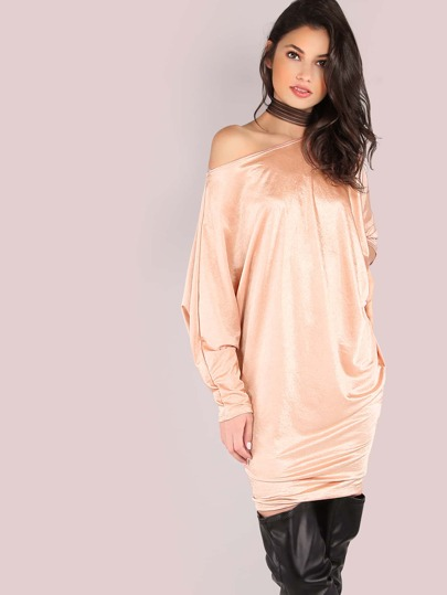 Satin Dolman Dress CHAMPAGNE