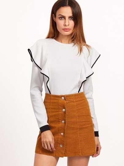 White Contrast Binding Ruffle T-shirt