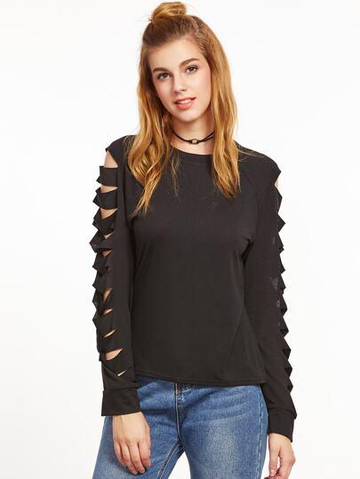 Black Ladder Ripped Sleeve Sweatshirt