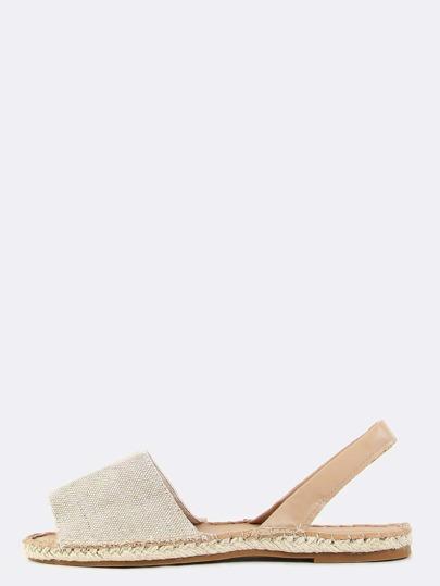 Linen Leather Espadrille Sandals NATURAL