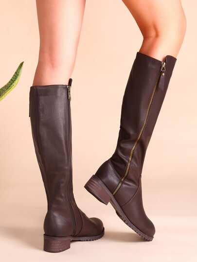 Brown Faux Leather Side Zipper Cork Heel Knee Boots