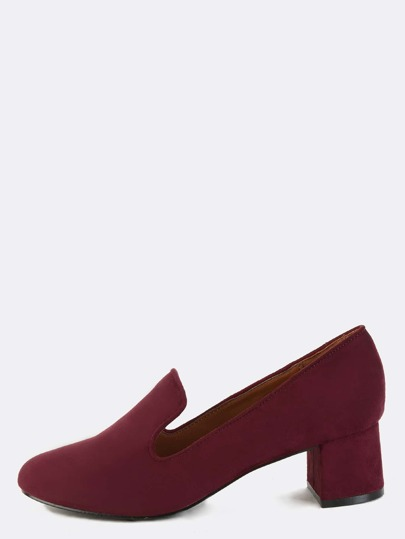 Chunky Heel Suede Loafers BURGUNDY