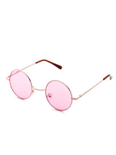 Gold Frame Pink Lens Round Sunglass