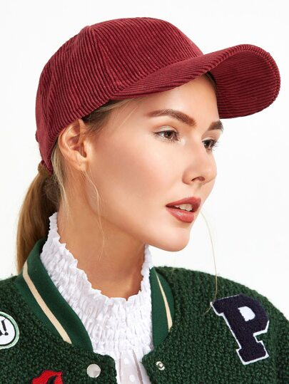 Cappello Di Baseball Di Velluto A Coste - Borgogna