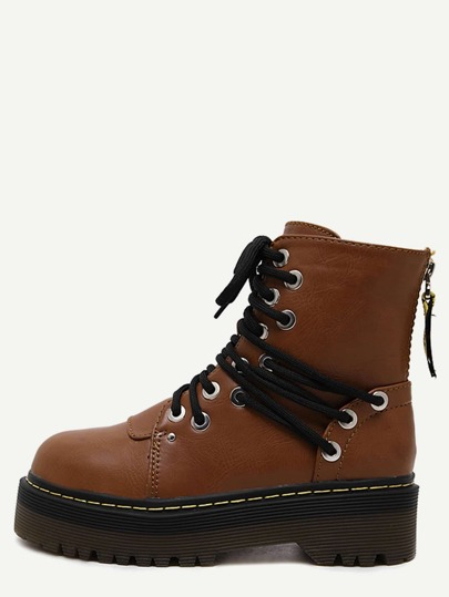 Brown Round Toe PU Lace Up Martin Boots