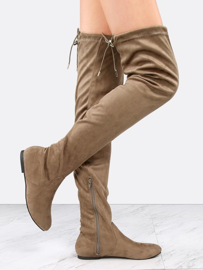 Flat Faux Suede Tall Boots TAUPE