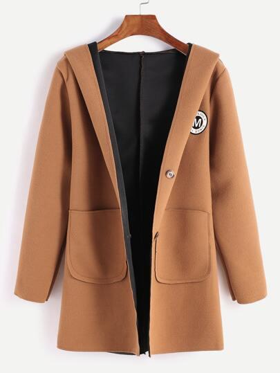 Khaki Hooded Patches Back Belt Coat With Pockets