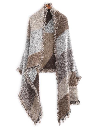модный толстый шарф шалью с бахромой