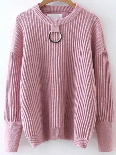 Pink Ring Embellished Ribbed Sweater