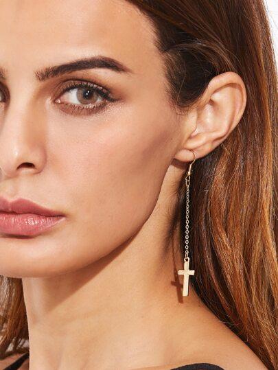 Gold Plated Cross Pendant Long Drop Earrings