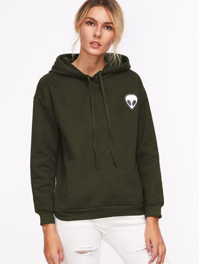 Army Green Alien Print Hooded Sweatshirt