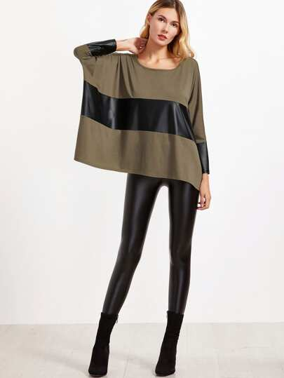 Brown Contrast Coated Panel Dolman Sleeve Oversized T-shirt