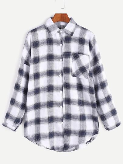 Tartan Plaid Drop Shoulder Curved Hem Pocket Shirt